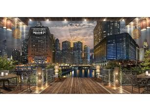 Фотообои «Вид из кафе на ночной город»