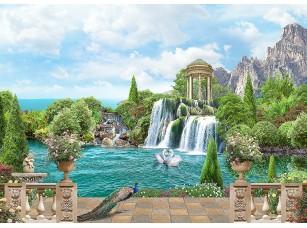 Фотообои «Вид на водопад с ротондой»