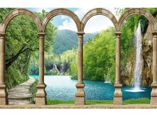 Фотообои «Вид на водопад через арки»