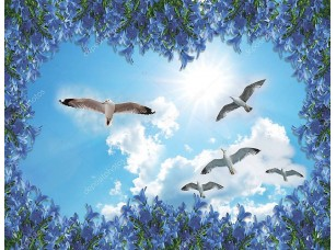 Фотообои «3d background for room Blue sky flying seagull living room background wall. 3D wallpapers look very real, not only can protect your wall, but also bring different colors to your room! High-definition»