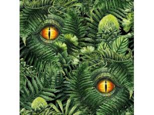 Фотообои «Watercolor dinosaur eye and prehistoric plants»