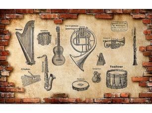 Фотообои «Инструменты на стене в кирпичном обрамлении»