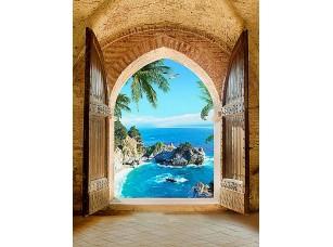 Фотообои «Вид из арки на голубую лагуну»