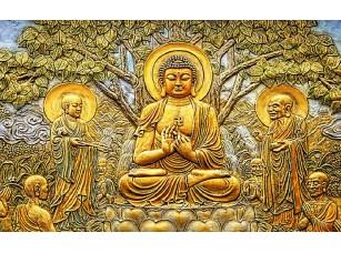 Фотообои «Будда. Дерево милосердия. Эстамп в золоте»