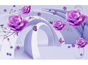 Фотообои «Абстракция из арок и цветов»