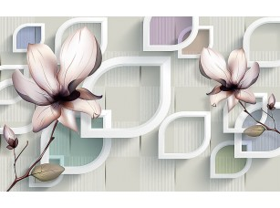 Фотообои «Абстрактные фигуры  и цветы на берестяном фоне»