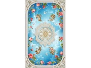 Фотообои «Дизайн потолка с ангелами в небе»