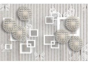 Фотообои «Ажурные шары и квадраты на полосатом фоне»