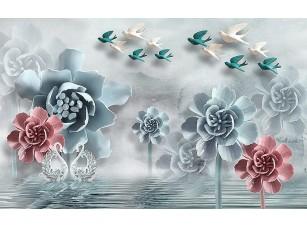 Фотообои «Абстрактные цветы с хрустальными лебедями»