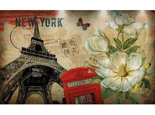 Фотообои «Открытка. Нью-Йорк-Лондон-Париж»