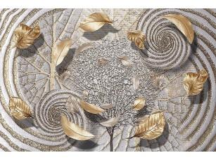 Фотообои «Абстракция с золотыми листьями»