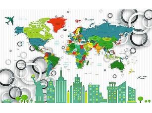 Фотообои «Город на фоне карты мира»