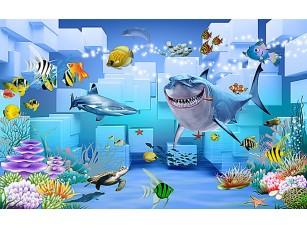 Фотообои «Акула на фоне кубов»