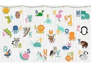Фотообои «Английские буквы с животными на заборе»
