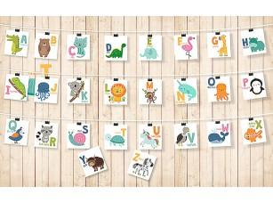 Фотообои «Английский алфавит с животными»