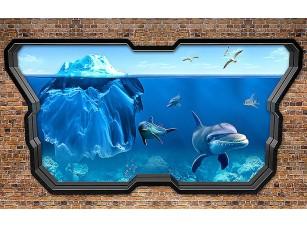 Фотообои «Айсберг и дельфины сквозь стекло»