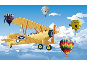 Фотообои «Аэроплан с воздушными шарами»