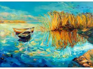Фотообои «Две лодки у камыша. Живопись»