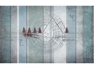 Фотообои «Абстракция с деревьями и горами»