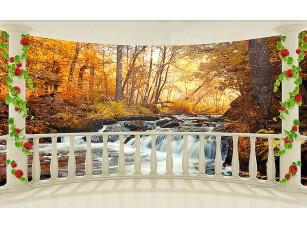 Фотообои «Вид с балкона на осенний водопад»