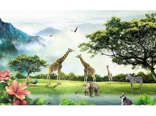 Фотообои «Африканские животные на фоне гор»