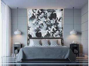 Обои Tropical цветы на кирпичной стене интерьер 17466