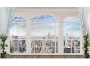 Обои Urban Панорамное арочное окно Нью-Йорк 18497
