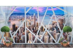 Обои Urban Панорамное геометрическое окно Hong Kong 18503