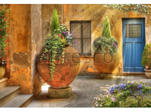 Фреска Кувшины с цветами во дворике, арт. ID10513