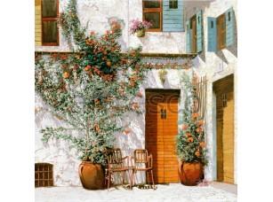 Фреска Дворик горшки с цветами, арт. 6746