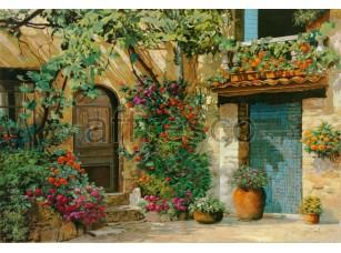 Фреска Итальянский дворик в цветах, арт. 6750