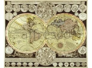 Фреска Старинная карта с континентами, арт. 0023