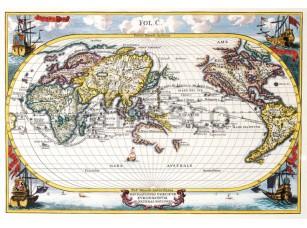 Фреска Старинная карта мира, арт. 0053
