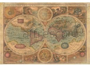 Фреска Старинная карта полушарий, арт. 0066