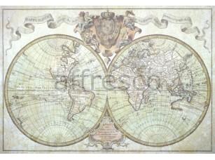 Фреска Старинная карта мира, арт. 0021