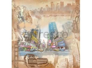 Фреска Графический коллаж Нью-Йорка, арт. 7083
