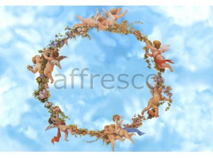 Фреска Сюжеты для потолков, ангелочки с цветами | арт. 3142