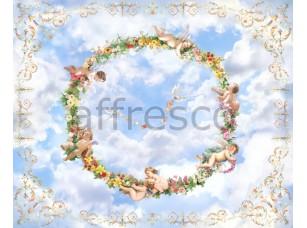 Фреска Сюжеты для потолков, ангелочки в кругу цветов | арт. 9169