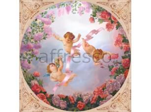 Фреска Сюжеты для потолков, ангелочки на небе с цветами | арт. 9048