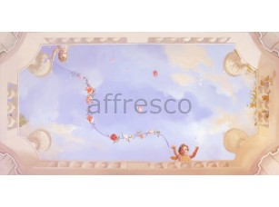 Фреска Сюжеты для потолков, ангелочки на небе с цветами | арт. 9115