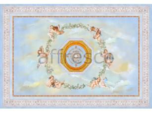 Фреска Сюжеты для потолков, цветочный круг с ангелами | арт. 9046