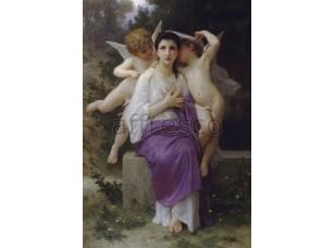 Фреска Классические сюжеты, сидящая женщина с ангелами | арт. 3183