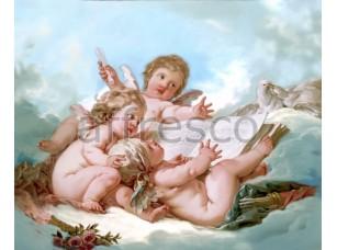 Фреска Классические сюжеты, ангелочки в облаках | арт. 3148