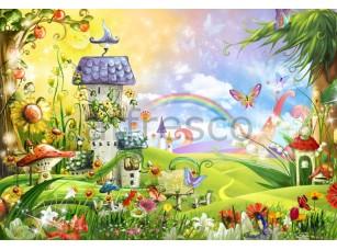 Фреска Детские, сказочные домики на поляне | арт. 9544
