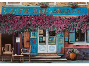 Фреска Городская романтика, вход в кафе | арт. 3430
