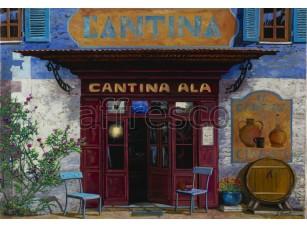 Фреска Городская романтика, подъезд кафе | арт. 3432