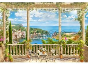 Вид с балкона на причал, фреска  4942