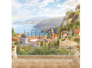 Вид с балкона на море, фреска  6525