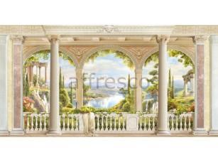 Вид с балкона на озеро, фреска  6532