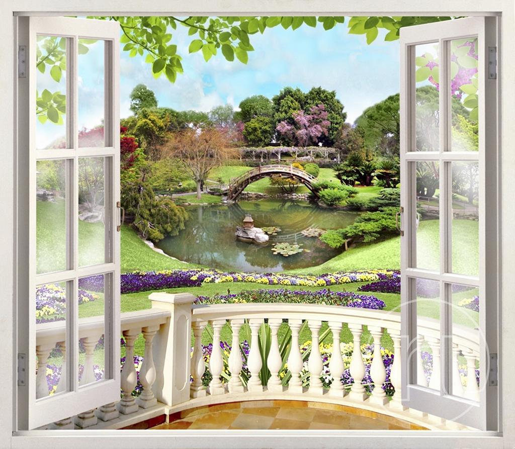 таковым фотообои вид из окна в сад упростить